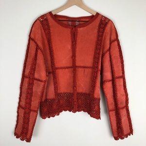 Jackets & Blazers - Orange Suede and Crochet Jacket
